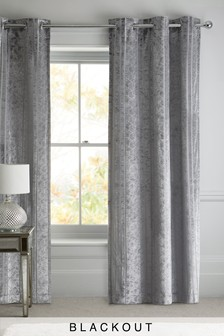 Geo Velvet Eyelet Curtains