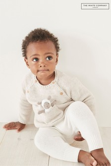 The White Company Oatmeal Organic Knitted Jumper With Toy