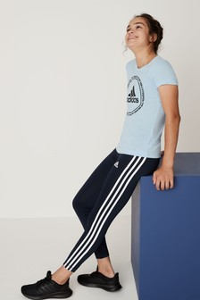 adidas Navy Training 3 Stripe Leggings