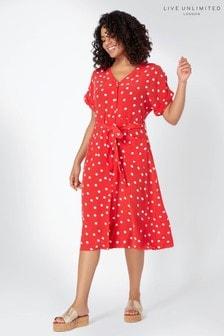 Красное платье-рубашка в горошек Live Unlimited