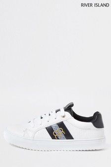 River Island White Monogram Trainers