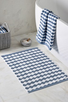 Wavy Striped Toweling Bath Mat