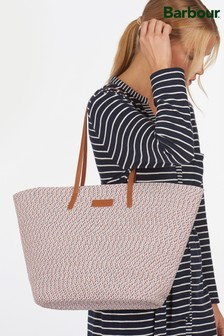 Barbour® Pink Braided Two Tone Straw Twist Beach Bag