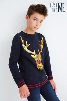 Джемпер с круглым вырезом горловины и оленем из пайеток в семейном стиле (9 мес. - 16 лет)