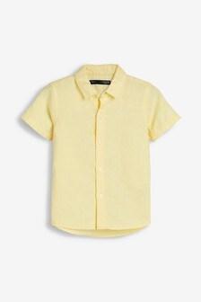 Рубашка из смеси льна с короткими рукавами (3 мес.-7 лет)