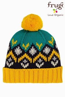 Frugi GOTS Blue Organic Cotton FairIsle Pattern Bobble Hat