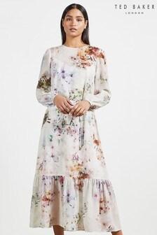 שמלת מידי פפלום של Ted Baker דגם Kally Vanilla בלבן