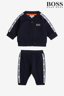 סט חליפת ספורט עם לוגו בכחול כהה שלBoss