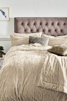 Bettbezug und Kissenbezug aus Samt in Crinkle-Optik