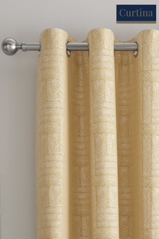 Curtina Lowe Textured Panels Lined Eyelet Curtains
