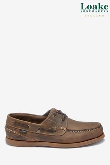Loake Crazy Horse Brown Leather Lymington Boat Shoe
