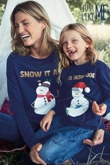 Детская рождественская футболка с длинными рукавами и принтом снеговика из коллекции для всей семьи  (3 мес.-16 лет)