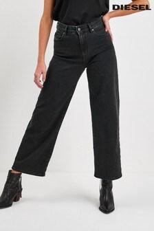 Diesel® Black Wide Crop Leg Jean
