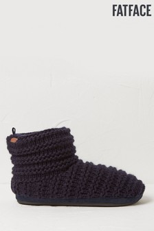 FatFace Blue Laurence Knitted Slipper Boots