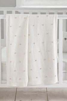 Cream Knitted Pom Blanket