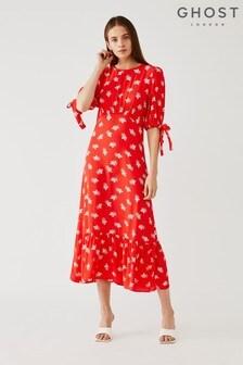 Ghost London Red Fleurette Floral Print Crepe Dress
