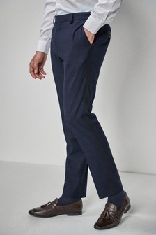 Skinny Fit Check Tuxedo Suit: Trousers