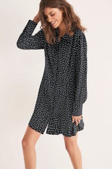Платье-рубашка мини с воротником
