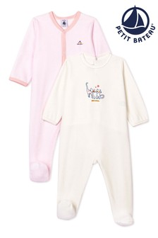 Petit Bateau Pink/White Velour Sleepsuits 2 Pack
