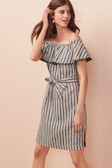 Sukienka z mieszanki lnu, z odkrytymi ramionami