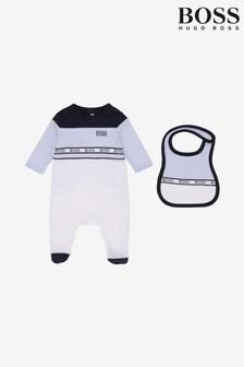 Комплект из пижамы и слюнявчика белого цвета BOSS
