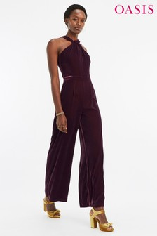 Oasis Purple Twist Velvet Jumpsuit