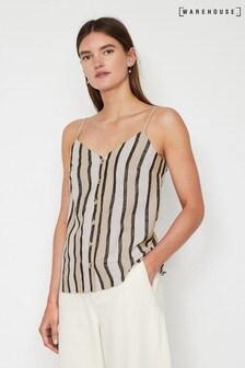 Warehouse Natural Stripe Button Linen Blend Cami Top