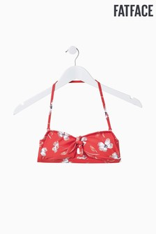 FatFace Red Bold Blooms Bow Bandeau Top