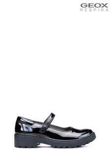 Czarne buty dziewczęce baletki Geox Junior Casey