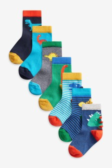 7 Pack Cotton Rich Dino Socks (Younger)