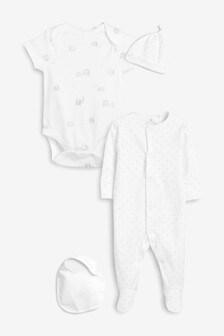 Пижамный комплект из 4 предметов с принтом (0-6мес.)
