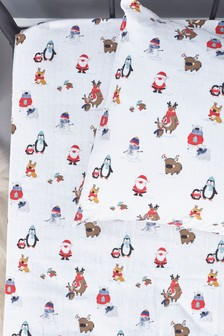 Supersoft 100% Cotton Brushed Christmas Fitted Sheet And Pillowcase (925076) | $20 - $35
