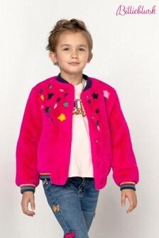 Billieblush Pink Star Faux Fur Jacket