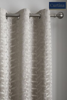Curtina Kendal Velvet Geo Lined Eyelet Curtains