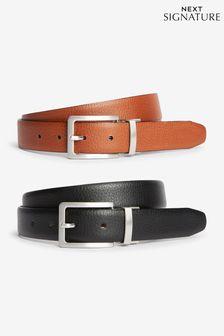 Signature Italian Leather Grain Effect Belt