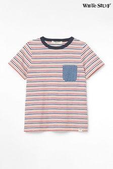 Detské červené pásikavé džersejové tričko White Stuff Albie