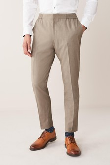 Taupe Slim Fit Suit: Trousers