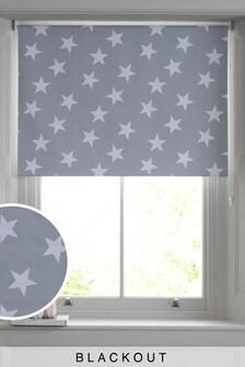 Grey Star Print Blackout Roller Blind