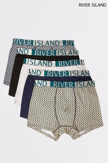 River Island Green Geo Boxers Five Pack