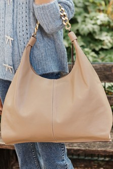 Leather Chain Handle Hobo Bag