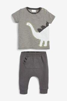 סט חולצת טי וטייץ עם דינוזאורים (0 חודשים עד גיל 2)