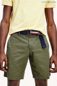 Tommy Hilfiger Green Brooklyn Light Twill Belted Shorts