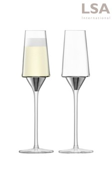Set of 2 LSA International Space Platinum Champagne Flutes