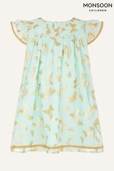 Monsoon綠色嬰兒裝貼箔蝴蝶印花連衣裙