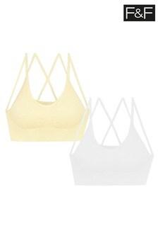 F&F Lemon/White Strappy Bras 2 Pack