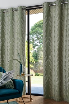 Жаккардовые шторы с подкладкой, люверсами и лиственным узором