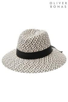 Oliver Bonas Mono Bow Black And Pink Fedora Hat