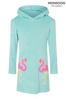 Monsoon Blue Flamingo Towelling Dress