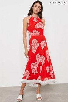 שמלת מידי פרחונית בצבע אדום שלMint Velvet דגםSicily