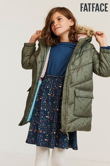 FatFace Green Lily Longline Printed Padded Jacket